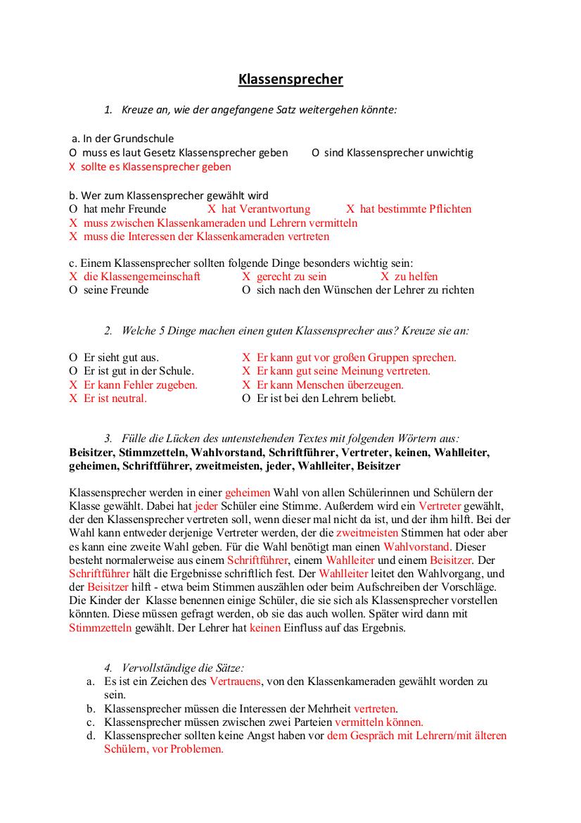 Klassensprecherwahl Grundschule Material